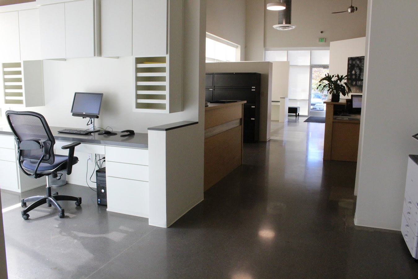 polished concrete floor for office