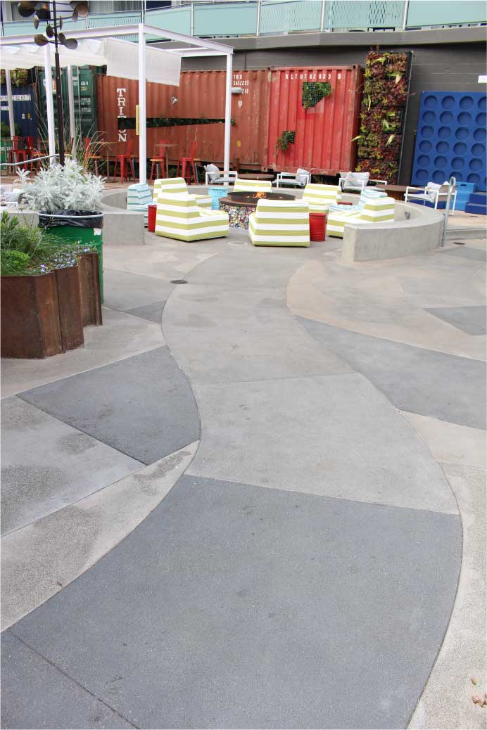 Exterior Decorative Concrete flooring by Bay Area Concretes at Hotel Zephyr California